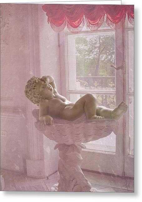 Sunbathing Digital Greeting Cards - Sunbathing Cupid Greeting Card by Victoria Harrington