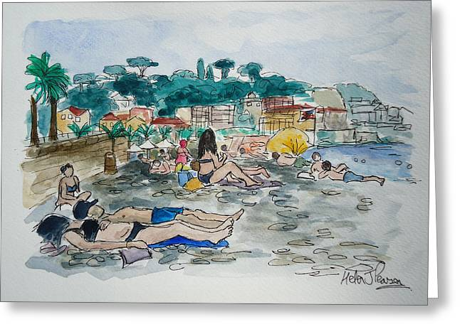 South Of France Mixed Media Greeting Cards - Sunbathing Greeting Card by Helen J Pearson