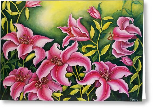 Bucci Paintings Greeting Cards - Sunbathing Stargazer Pink Lilies Greeting Card by Debra Bucci