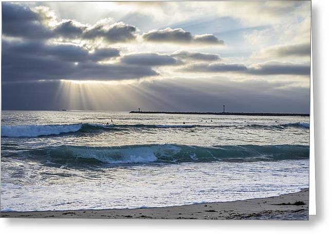 Images Of San Diego Greeting Cards - Sunbeams and Waves Greeting Card by Joseph S Giacalone