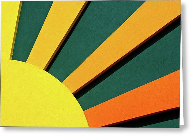 Green And Yellow Abstract Greeting Cards - Sunbeams Greeting Card by Christi Kraft