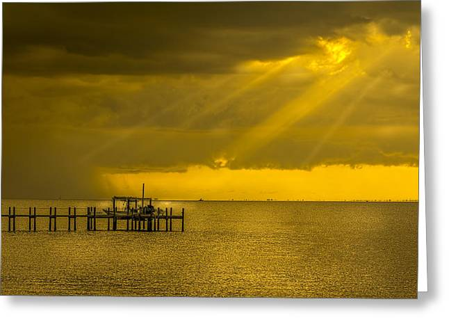 Docked Boats Greeting Cards - Sunbeams of Hope Greeting Card by Marvin Spates