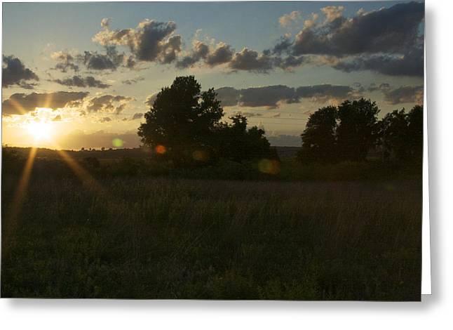 Prairie Sunset Landscape Art Print Greeting Cards - Sunbeams on the Prairie Greeting Card by Jane Eleanor Nicholas