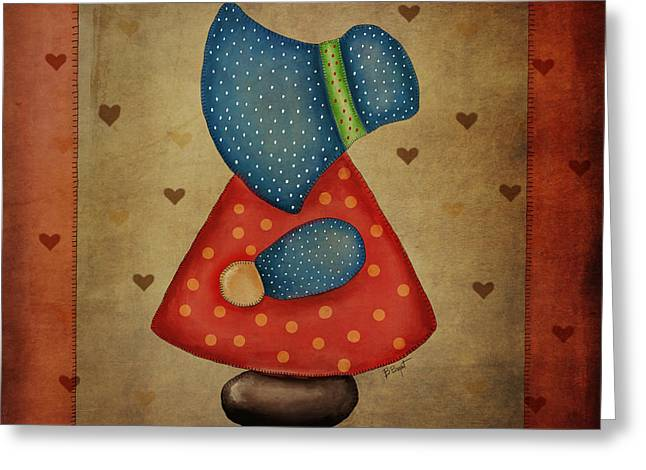 Bryant Greeting Cards - Sunbonnet Sue in Red and Blue Greeting Card by Brenda Bryant