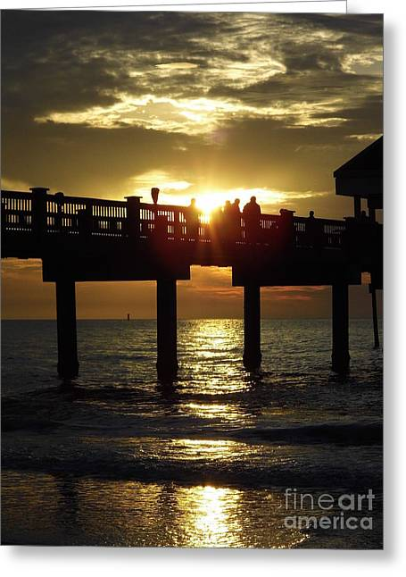 Reflection Of Sun In Clouds Greeting Cards - Sunburst At Sunset Greeting Card by D Hackett