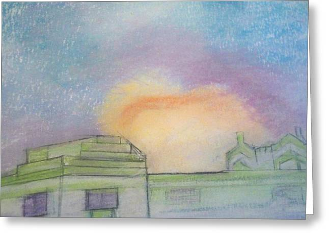 Miami Pastels Greeting Cards - Sunburst at the Sea Shore Hotel Greeting Card by Elaine Marie