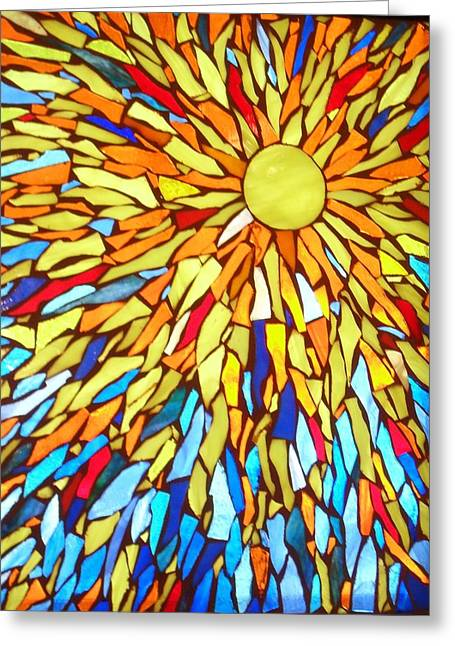 Sun Glass Art Greeting Cards - Sunburst Greeting Card by Donna Moore