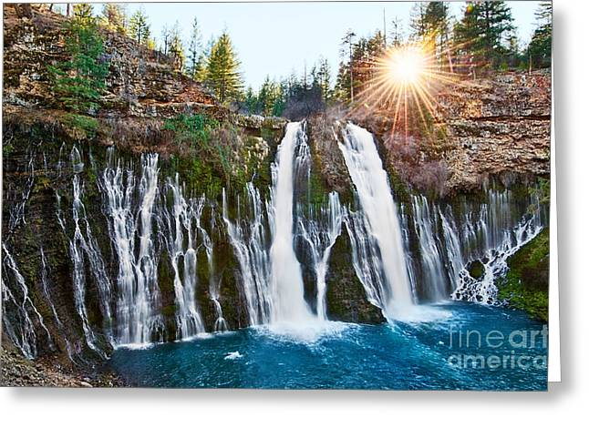 Fall Greeting Cards - Sunburst Falls - Burney Falls is one of the most beautiful waterfalls in California Greeting Card by Jamie Pham