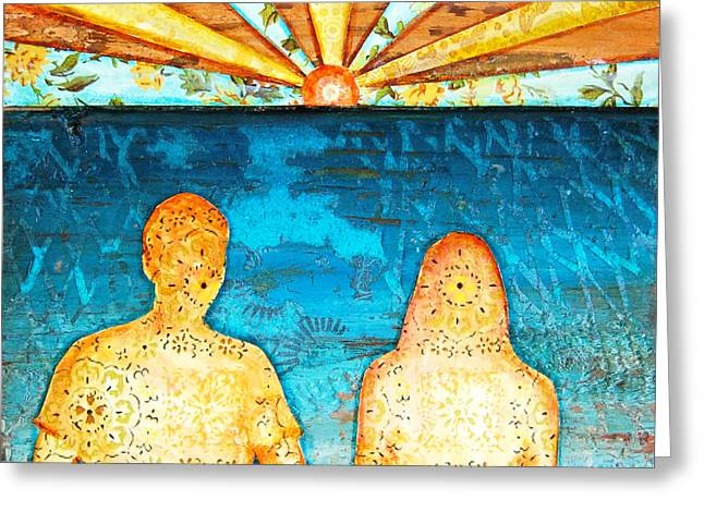 Couple Mixed Media Greeting Cards - Sunburst In Love Greeting Card by Danny Phillips