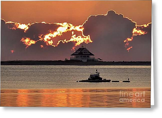 New England Ocean Greeting Cards - Sunburst Greeting Card by Janice Drew