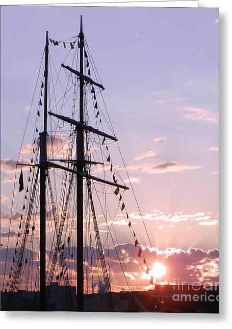 Sailboats Docked Greeting Cards - Sunburst Ship Greeting Card by Snapshot  Studio