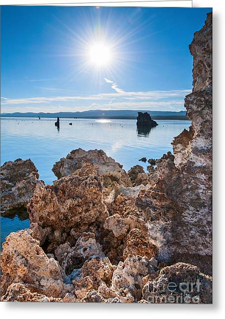 Burst Greeting Cards - Sunburst - Strange Tufa Towers of Mono Lake in California. Greeting Card by Jamie Pham