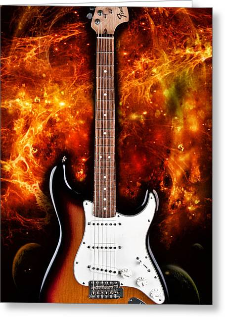 Fender Strat Greeting Cards - Sunburst Stratocaster Greeting Card by Peter Chilelli