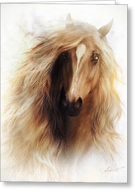 Wild Horses Greeting Cards - Sundance Horse Portrait Greeting Card by Shanina Conway
