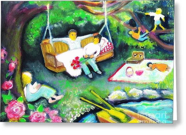 Sunday Picnic Greeting Cards - Sunday Afternoon At The Pond Greeting Card by Barbara LeMaster
