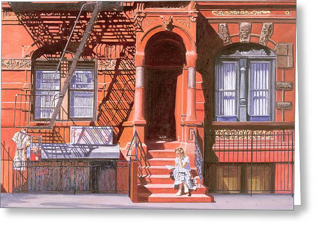Fine Artworks Greeting Cards - Sunday Afternoon East 7th Street Lower East Side NYC Greeting Card by Anthony Butera