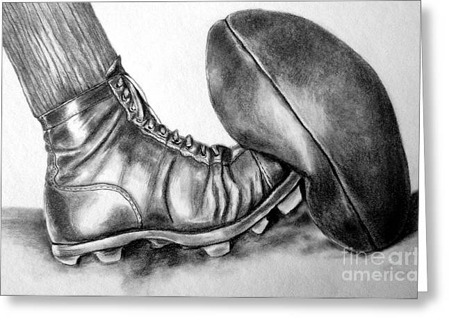 Player Drawings Greeting Cards - Sunday Afternoon Football Greeting Card by Josie Duff