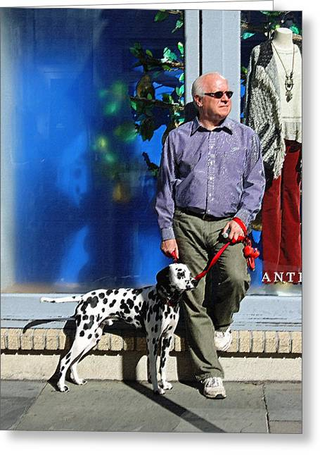Dog Walking Digital Art Greeting Cards - Sunday Afternoon on King Street Greeting Card by Suzanne Gaff
