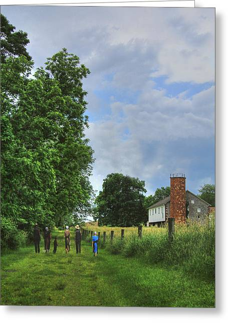Amish Greeting Cards - Sunday Afternoon Walk Greeting Card by Sharon Batdorf
