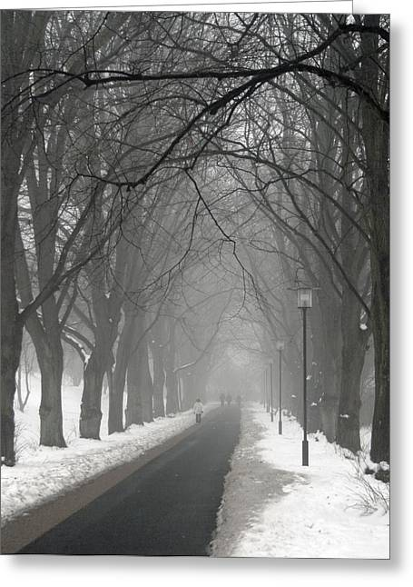Odd Jeppesen Greeting Cards - Sunday Afternoon Winter Greeting Card by Odd Jeppesen