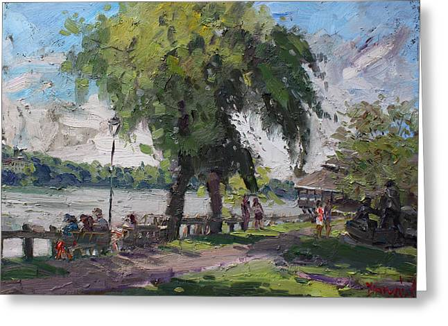 Waterfronts Greeting Cards - Sunday at Lewiston Waterfront Park Greeting Card by Ylli Haruni