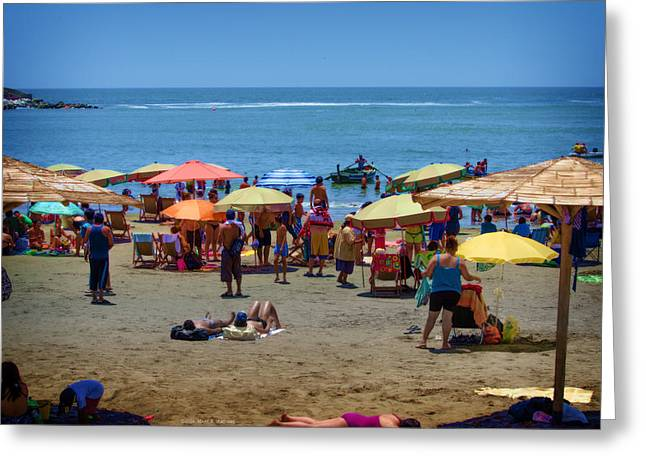Sunday Picnic Greeting Cards - Sunday at the Beach - Barranco Greeting Card by Mary Machare