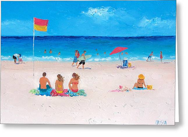 Kids Swimming At Beach Greeting Cards - Sunday at the Beach Greeting Card by Jan Matson