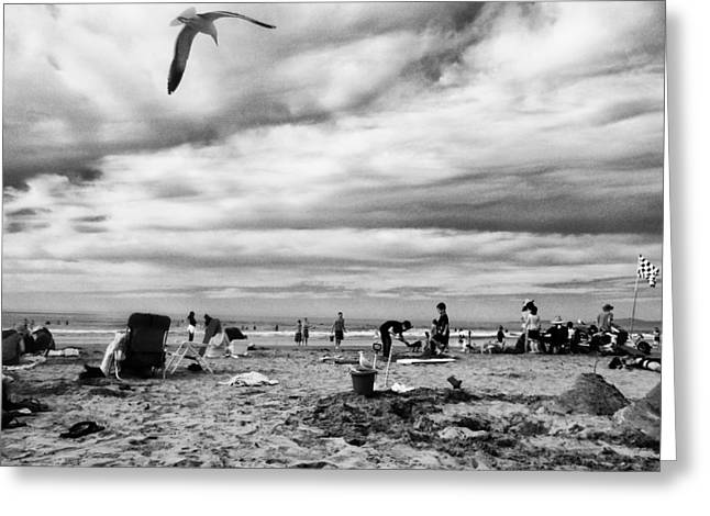 Sand Castles Greeting Cards - Sunday at the Beach Greeting Card by Juan Torrero