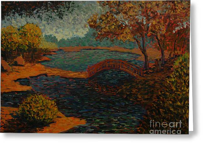 Park Scene Paintings Greeting Cards - Sunday at the park II Greeting Card by Monica Caballero