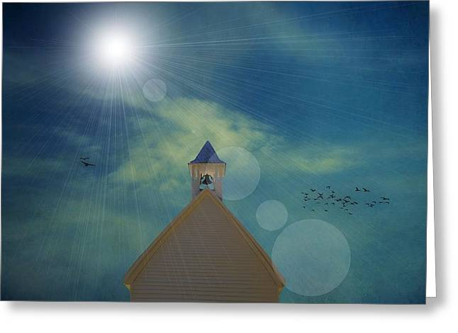 Jesus Mixed Media Greeting Cards - Sunday Church Service Greeting Card by Dan Sproul