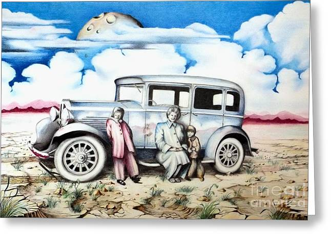 Surreal Landscape Drawings Greeting Cards - Sunday Drive Greeting Card by David Neace