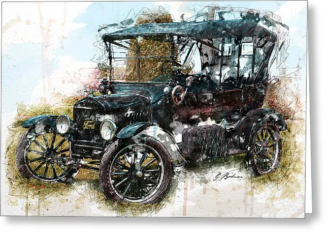 Ford Model T Car Greeting Cards - Sunday Driver Greeting Card by Gary Bodnar
