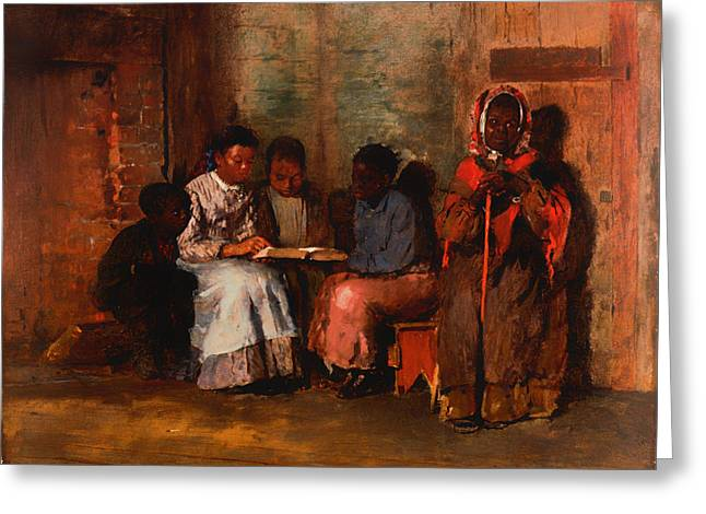 African-american Paintings Greeting Cards - Sunday Evening Greeting Card by Winslow Homer