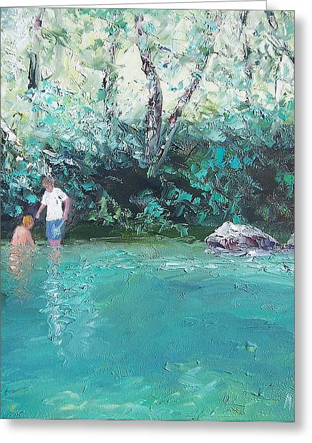 Reflections Of Trees In River Greeting Cards - Sunday Fun Greeting Card by Jan Matson