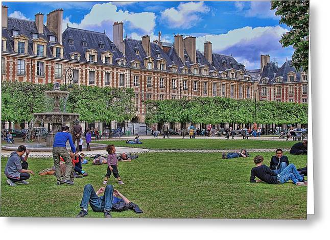 Beautiful Paris Art In Blue Greeting Cards - Sunday in the Park Greeting Card by Allen Beatty