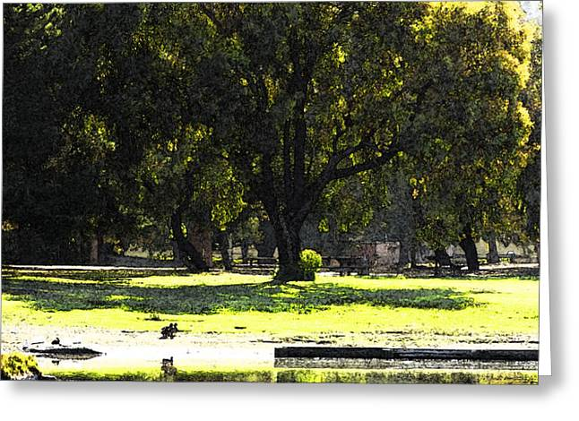 Sunday in the Park Greeting Card by Anne Mott