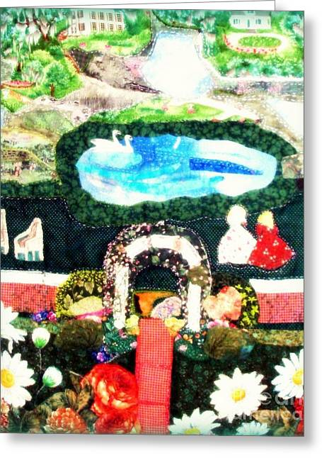 Path Tapestries - Textiles Greeting Cards - Sunday In The Park Greeting Card by Barbara LeMaster