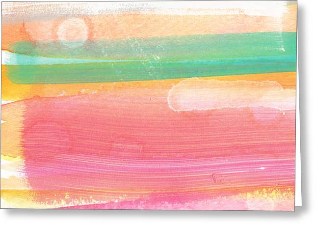 Sunday In The Park- contemporary abstract painting Greeting Card by Linda Woods