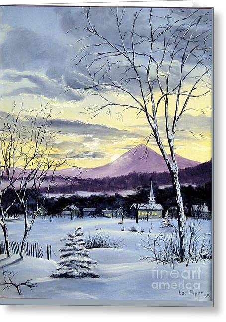 Maine Farms Paintings Greeting Cards - Sunday in Winter Greeting Card by Lee Piper