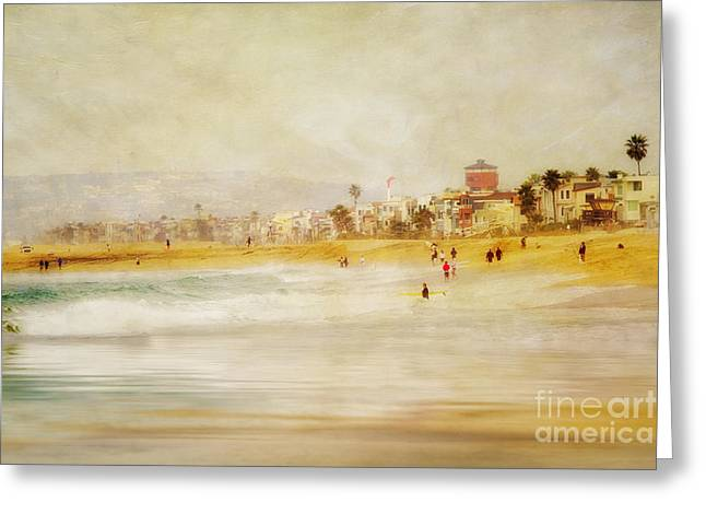 California Beach Greeting Cards - Sunday in Winter Painterly Greeting Card by Susan Gary