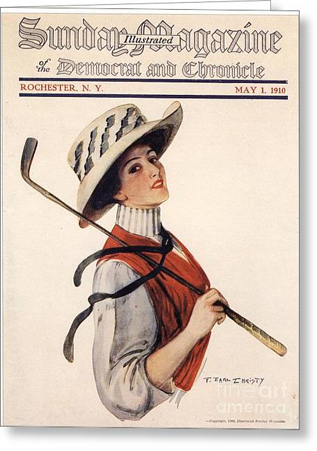 Sunday Magazine 1910s Usa Golf Womens Greeting Card by The Advertising Archives
