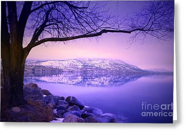 Snow Capped Greeting Cards - Sunday Morning at Okanagan Lake Greeting Card by Tara Turner