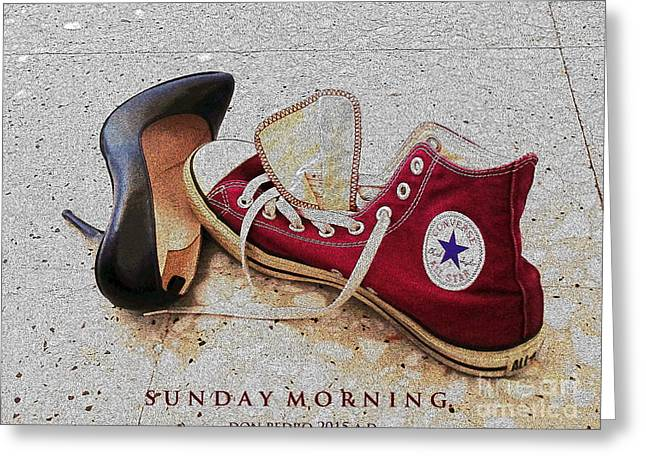 Sneaker Love Greeting Cards - Sunday Morning Greeting Card by Don Pedro De Gracia