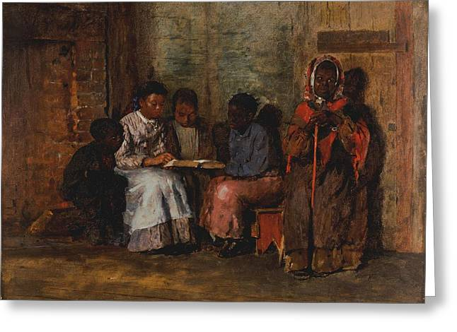 African-americans Greeting Cards - Sunday Morning In Virginia, 1877 Oil On Canvas Greeting Card by Winslow Homer