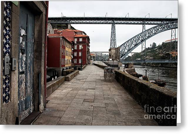 Red Buildings Greeting Cards - Sunday Morning Greeting Card by John Rizzuto
