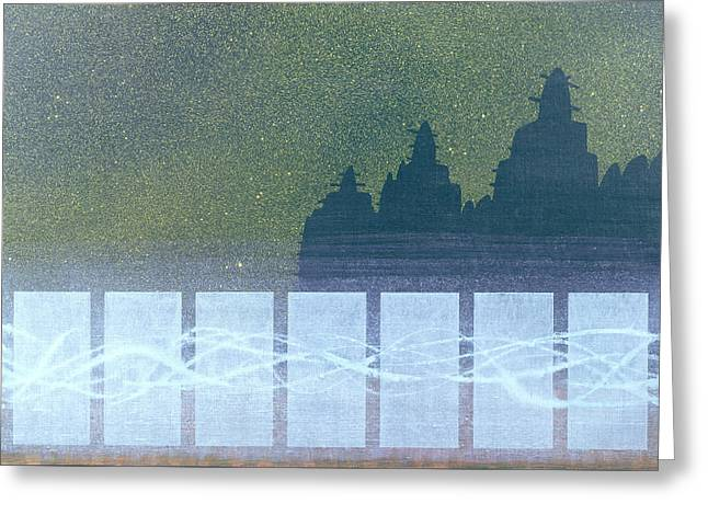 Abstract Composition Greeting Cards - Sunday Night, Djenne, Mali Oil On Linen Greeting Card by Charlie Millar
