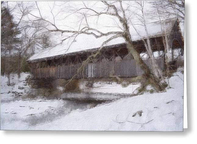 Winter In Maine Greeting Cards - Sunday River Covered  Bridge Greeting Card by Shellaine Rollins