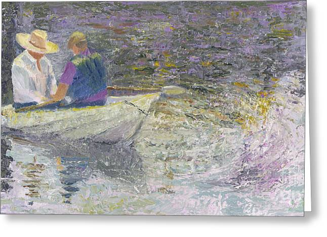Rowers Paintings Greeting Cards - Sunday Sailors Greeting Card by Sandy Linden