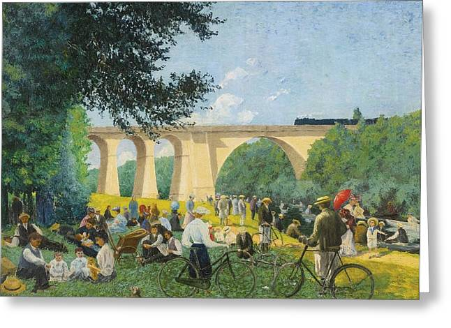 Sunday Picnic Greeting Cards - Sunday SUMMER AT THE EDGE OF THE MARNE Greeting Card by Celestial Images