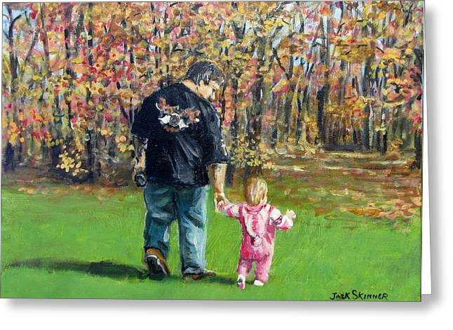 Jack Skinner Paintings Greeting Cards - Sunday Walk with Dad Greeting Card by Jack Skinner